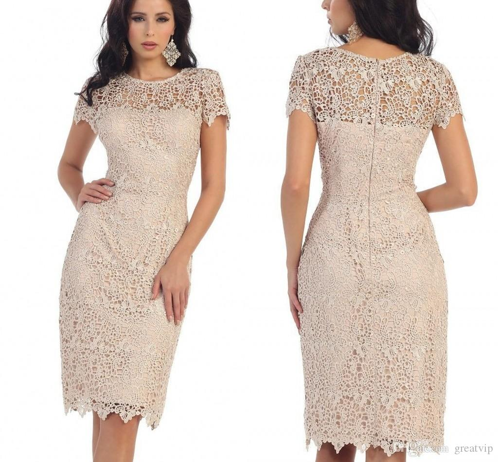 Lace Mother Of The Bride Dresses Jewel Short Sleeve Knee Length Mothers  Bridesmaid Gowns Plus Size Custom Made Party Dress Mother Of Groom Dresses  For ...