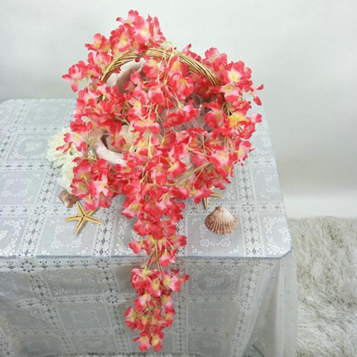 180 cm Yapay Sahte İpek Kiraz Çiçekleri Çiçek Vine Düğün Dekorasyon El Yapımı Çiçek Çelenk Düğün / Ev / Parti Dekor Dekoratif