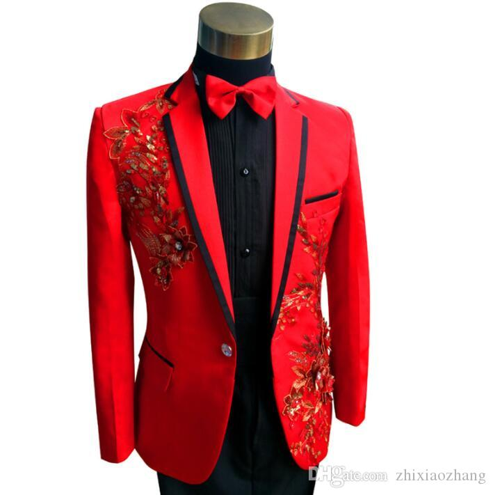 Blazer men groom suit set with pants mens wedding suits stage Three-dimensional embroidery personality formal dress red