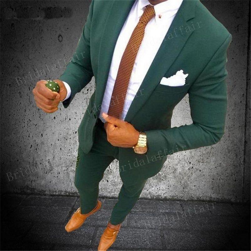 2020 ternos de casamento para homens 2 Pieces Mens ternos Slim Fit (jacket + pants) Suits Noivo Smoking verde formal do negócio