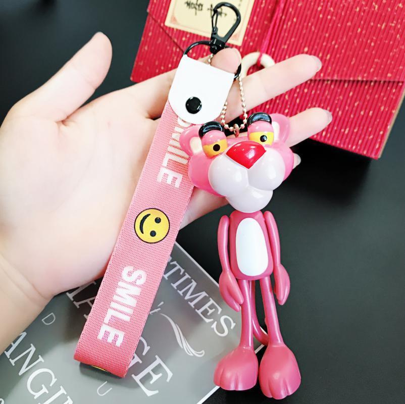 Новый милый аниме мультфильм розовый леопард брелок ПВХ брелок автомобиля брелок для ключей, дамы сумка Шарм брелок, кулон, подарок, ювелирные изделия