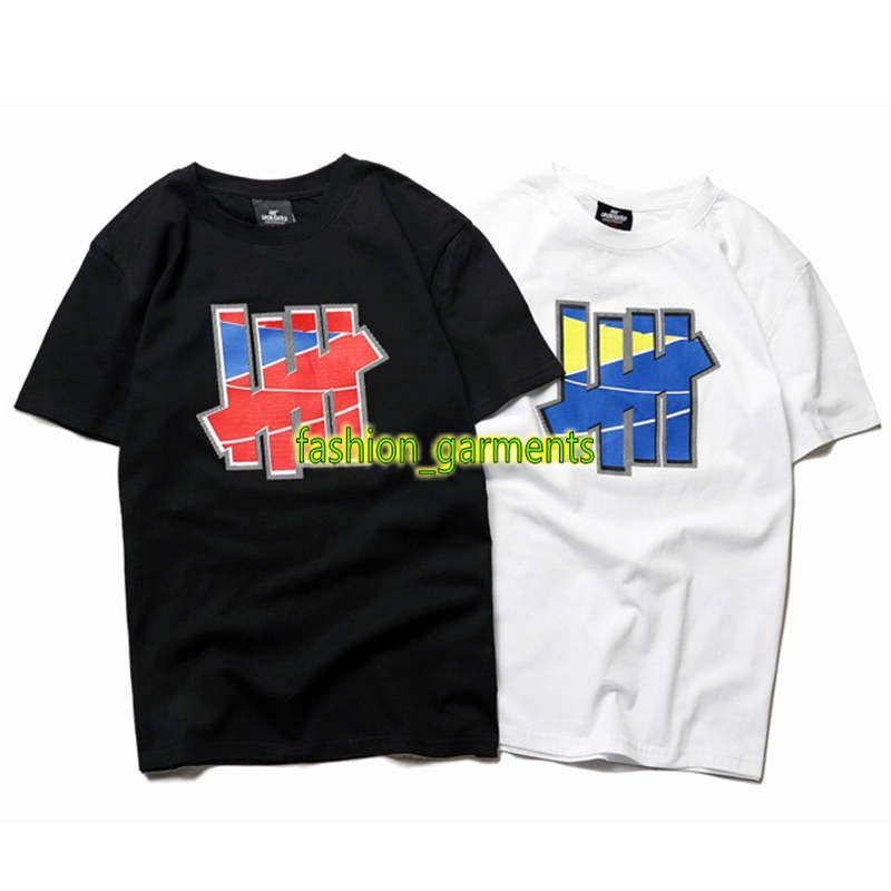 2019 para hombre de la alta calidad de la camiseta estilista Short Street Estilo de la manga de la personalidad de Hip Hop tendencia de manga corta invicto cinco barras camiseta de la impresión
