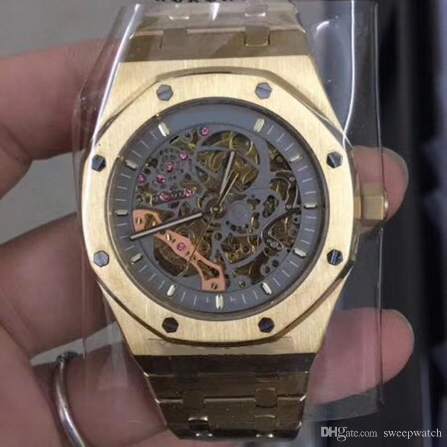 hombre de oro de lujo del reloj de cristal de zafiro 15407ST.OO.series los 41MM dial esquelético movimiento automático pulsera inoxidable macizo reloj de pulsera para hombres