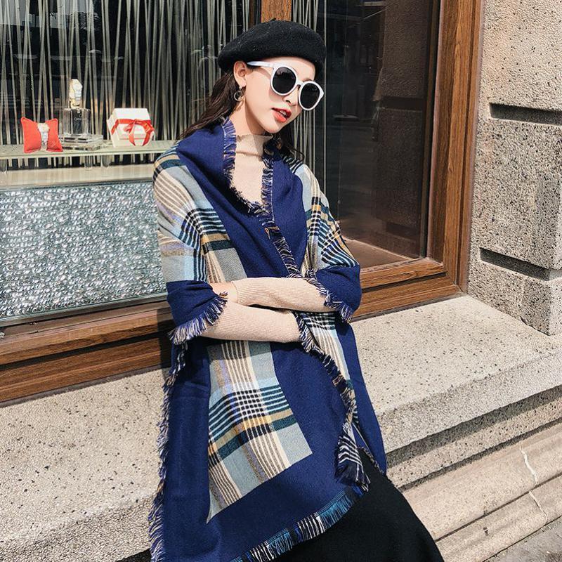 Cachemira de las mujeres del mantón de las bufandas de las mujeres de moda de alta calidad a largo bufandas de invierno a estrenar de la tela escocesa