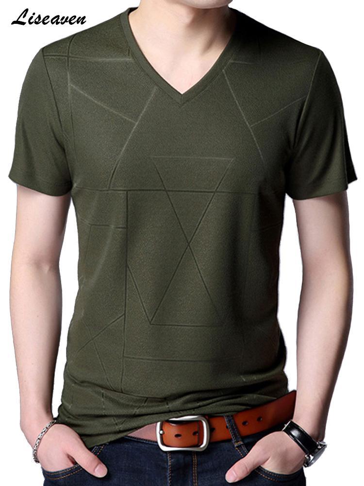 T-shirt dos homens Liseaven 2019 Chegada Nova V-Neck manga curta camiseta Slim Fit Camiseta CX200617 Verão T shirt dos homens