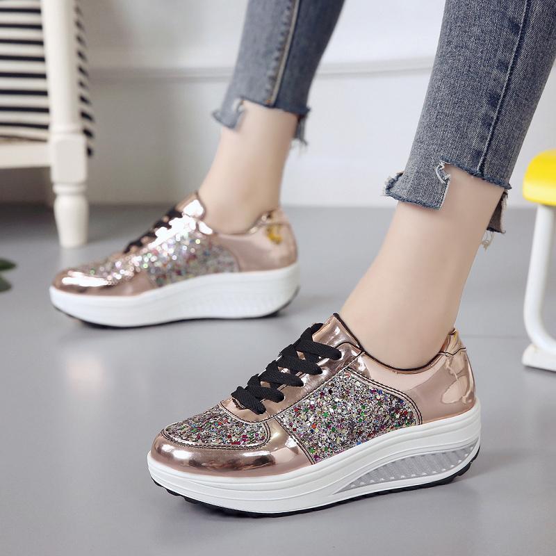 2020 Moda Mulheres Sapatilhas Sapatos Moda High Top Bling Mulheres vulcanizados sapatos de plataforma Causal das mulheres calça as sapatilhas Primavera