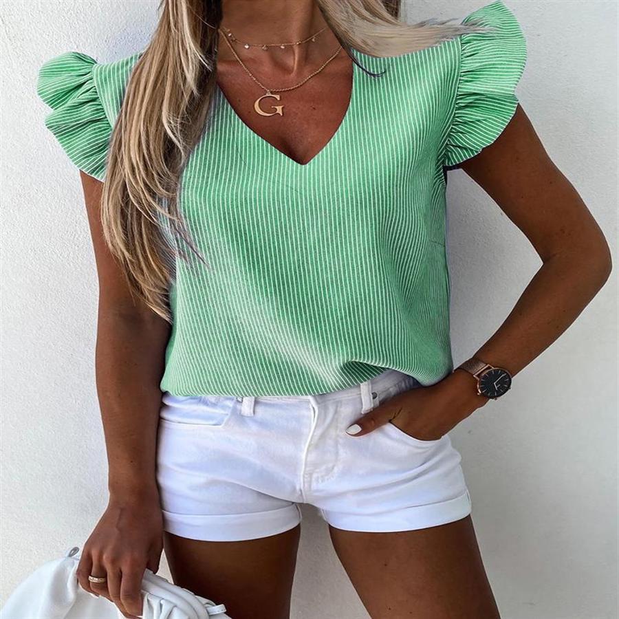 2020 nuova usura V-collo loto manicotto del foglio della maglietta di colore solido delle donne femminile 2020 nuovo manicotto del foglio di usura V-collo del loto di colore solido T-shirt F