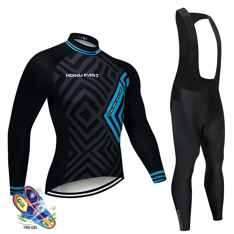2019 Erkekler Bisiklet Jersey Uzun kollu set Bisiklet Giyim Maillot Ropa Ciclismo Hombre Bisiklet Giyim 19D JEL önlüğü pantolon roupa ciclismo