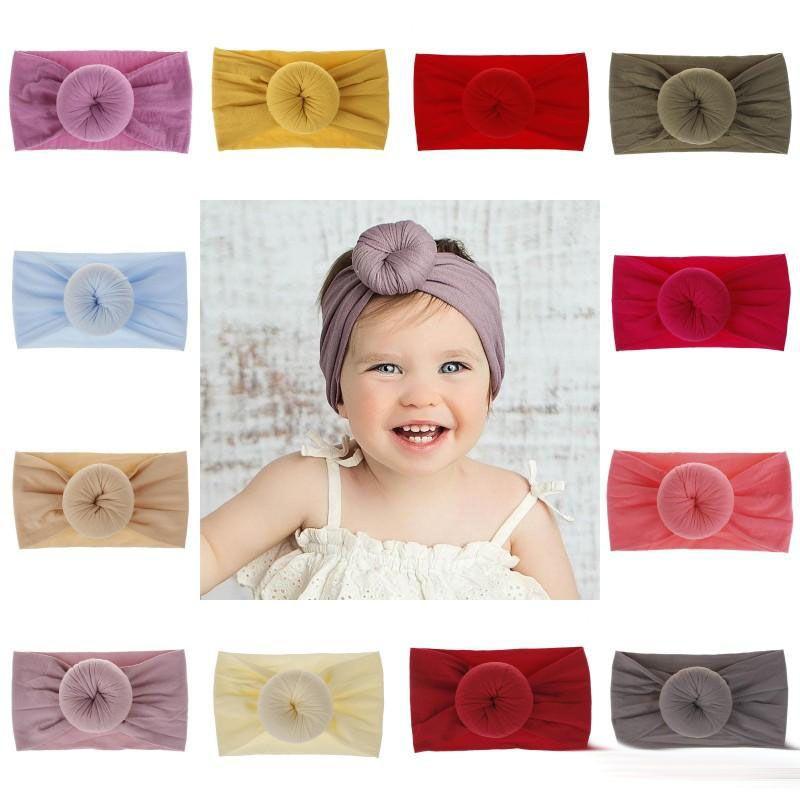 Детские нейлон руководитель группы сплошной цвет тюрбан Супер мягкий шар узел волос группа повязка на голову повязки малыша аксессуары для волос