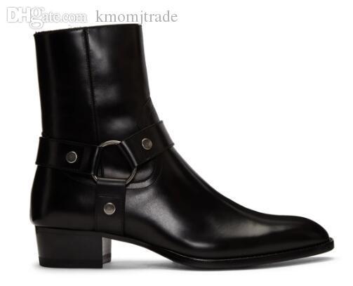 Man Slp Schwarz-echtes Leder Wyatt Harness Boots aus Kalbsleder Harness-Stil Westen Knöchelriemen Stacked Leder Cuban Heel Stiefel Schuhe