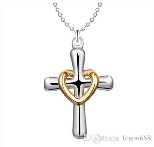 Nueva llegada 925 encantos de plata del círculo del oro del corazón cruces collar Collares señoras superventas del ajuste fino de la cadena del collar GB1263