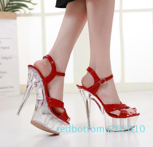 Plusgröße 35-40 41 Braut Hochzeit Schuhe Designer-Schuhe rot weiß kristallklare High Heel Sandalen 15cm r10