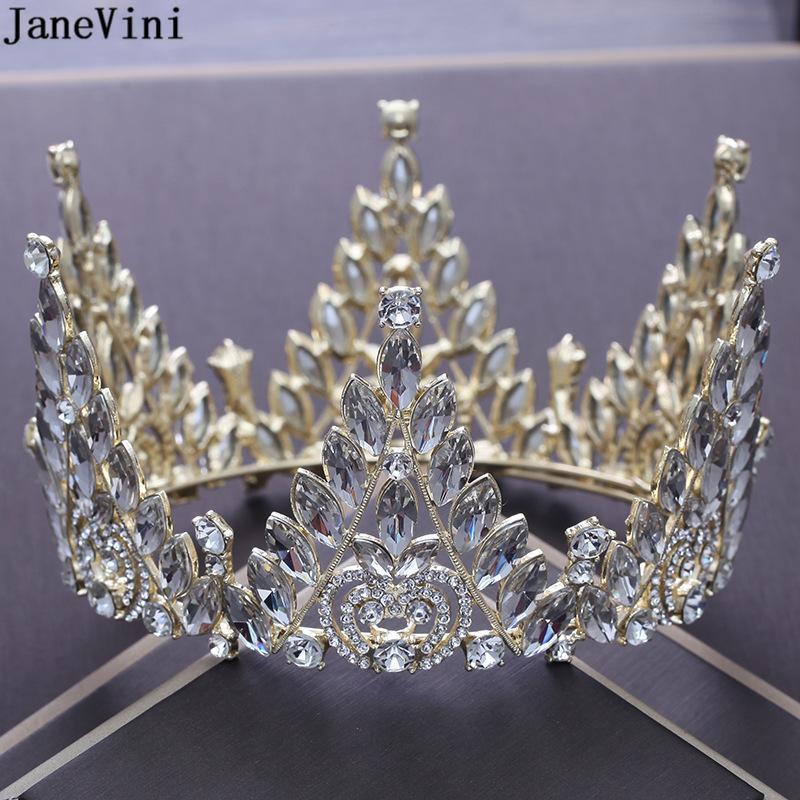 JaneVini роскошные золотые свадебные короны и диадемы стразы Корона принцесса королева оголовье невесты украшения для волос свадебные аксессуары