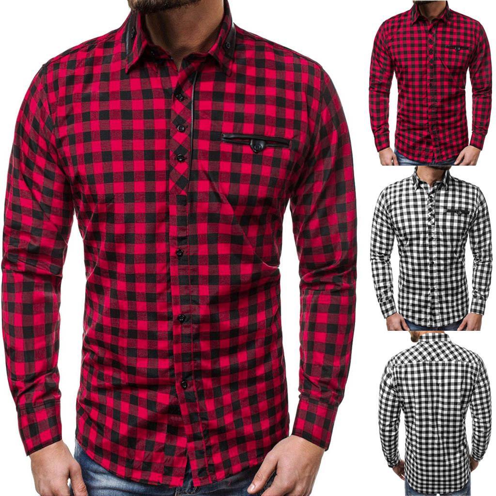 Rotes und schwarzes kariertes Hemd Männer Shirts 2019 neuer Herbst-Mode Chemise Homme Herren Karierte Hemden Langarm-Shirt Männer