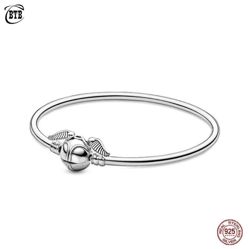925 Silber Charm Armband Goldenen Schnatz Haken für Frauen DIY baumeln Charme-Art- und Schmuck Magic Adventure Bangle