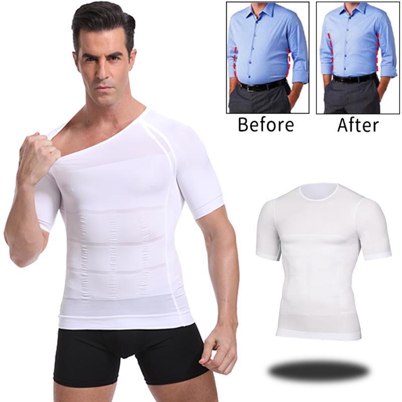 Tonificación classix Hombres Cuerpo que adelgaza la camiseta de la talladora del cuerpo de corrección de la postura del vientre de control de compresión Hombre Modelado de la ropa interior del corsé