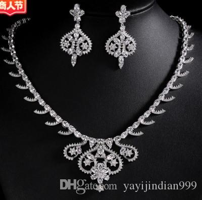 wondrful low price hight quality diamond crystal zircon flower bride wedding lady's set necklace earings 135