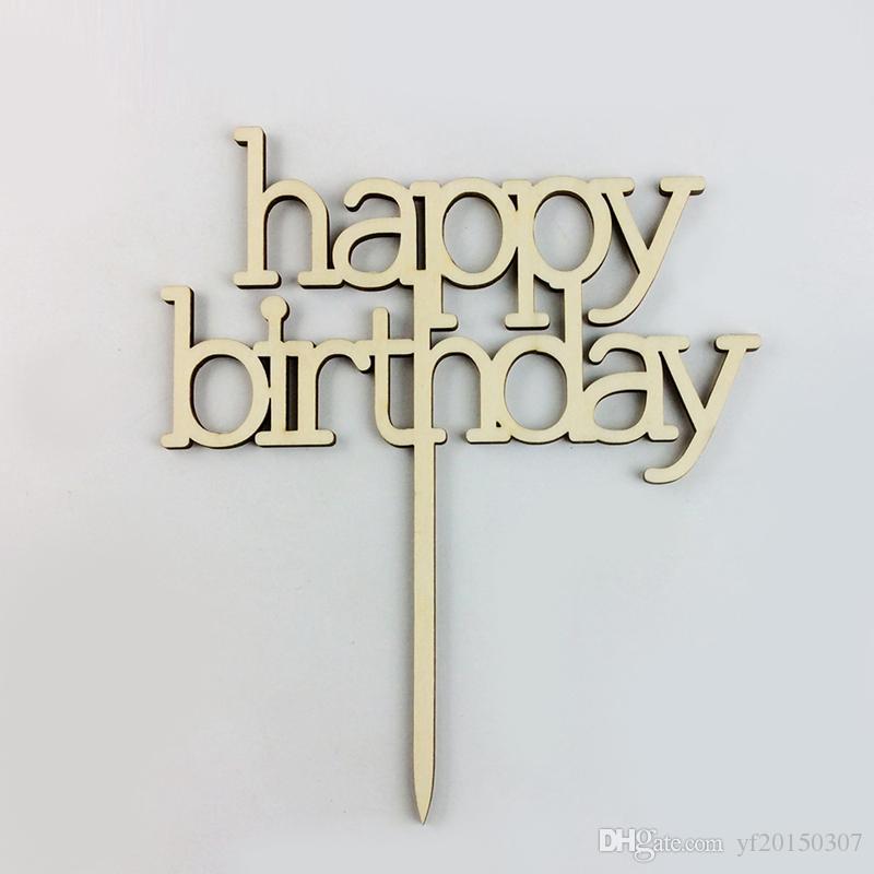 Decoración de pastel de cumpleaños Fuente elegante Feliz cumpleaños Pastel de madera Topper