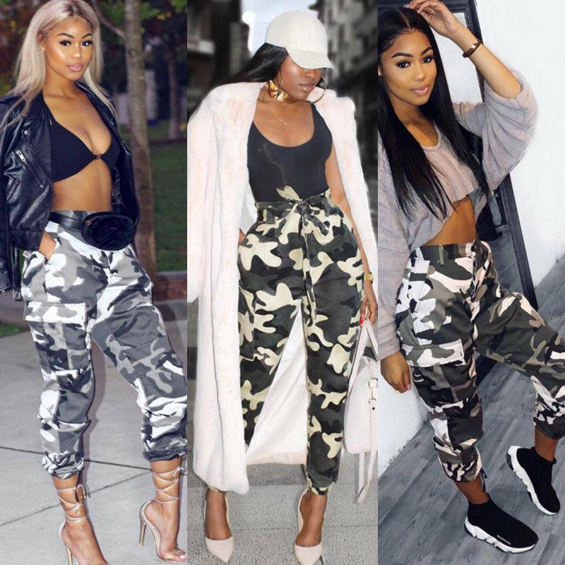 Women Fashion Camo Cargo Trousers Hip Hop Dance Ladies Military Pants Streetwear
