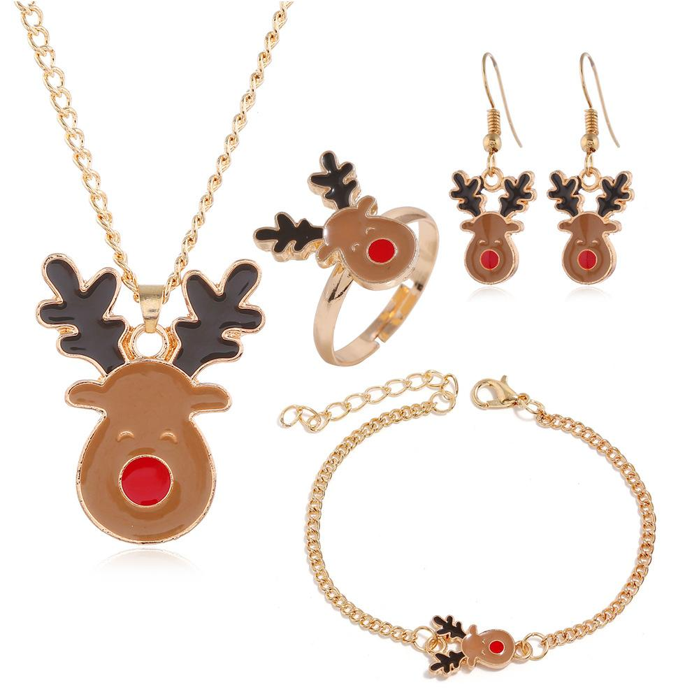European and American Christmas jewelry set gift individual alloy drop oil elk Necklace Earring Ring Bracelet Set