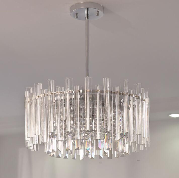 Luxury LED Crystal Chandelier Glass Tube Pendant Lighting Fixtures for Living Room Bedroom Decor E14 Indoor Lighting
