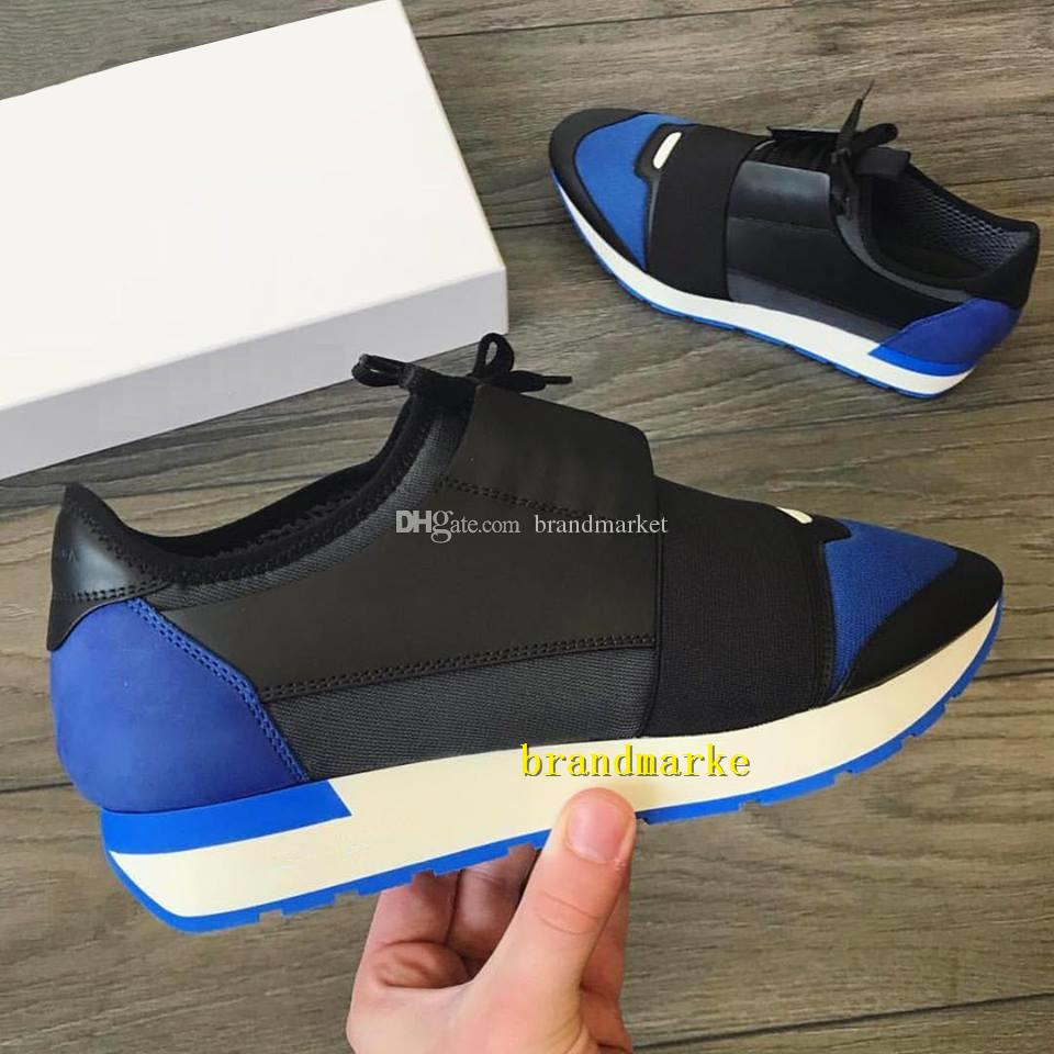 New Designer Race Runner Shoe Man Casual Woman Cheap Sneaker Fashion Mixed Colors Lace Up Mesh Trainer Shoes Size 35-46 With Box