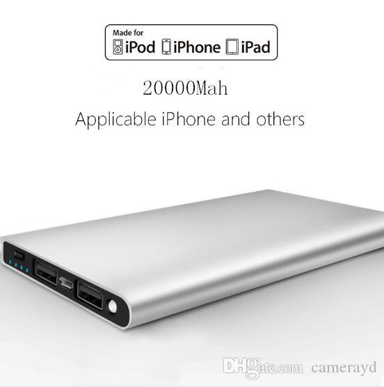 شاحن رقيقة جدا 20000MAH بنك الطاقة سلامة البطارية USB الطوارئ للموبايل فون الروبوت الهواتف المحمولة الشحن شحن مجاني