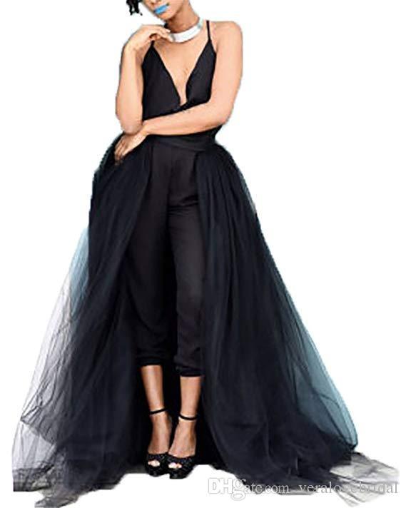 Einzigartiger Jumpsuit Schwarz Brautkleider Gothic V-Ausschnitt Overskirt Brautkleider Ärmel Arabisch Brautkleider 2019