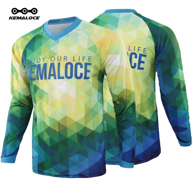 KEMALOCE 드롭 선박 크로스 뉴저지 2020 남성 긴 소매 MTB 크로스 셔츠 녹색 자전거 BMX 의류 최고의 산악 자전거 저지