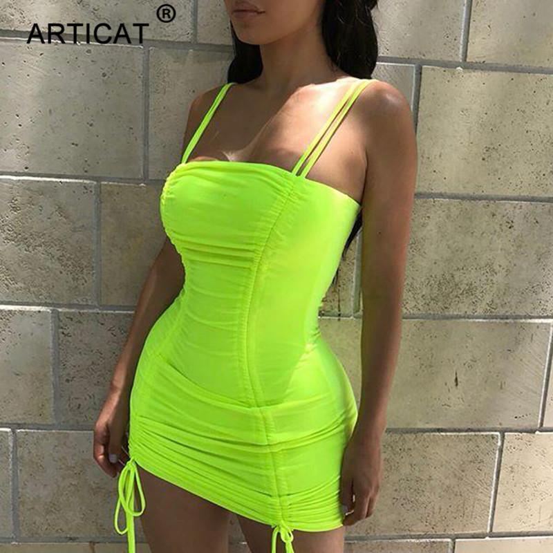 Articat Spaghetti Strap Sexy Backless Vestido de Verano 2019 Strapless Bodycon Vendaje Vestidos de Fiesta Vestidos Club Mini Vestido MX19070107