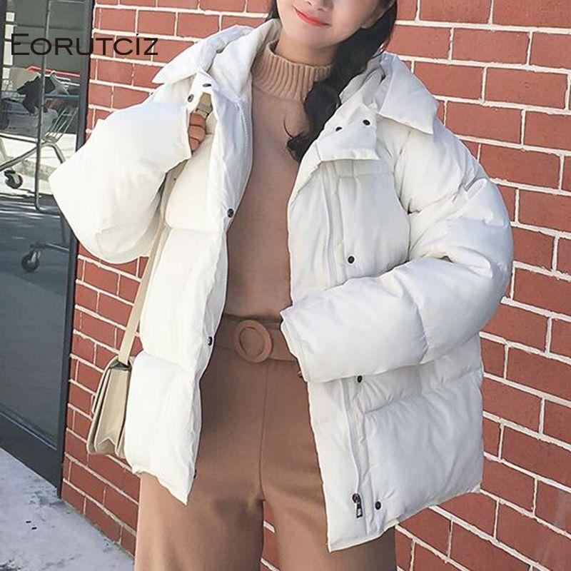 Invierno chaqueta de bombardero mujeres Parka corta caliente grueso de gran tamaño capa de la vendimia Negro bolsillo Harajuku otoño prendas de vestir exteriores LM053