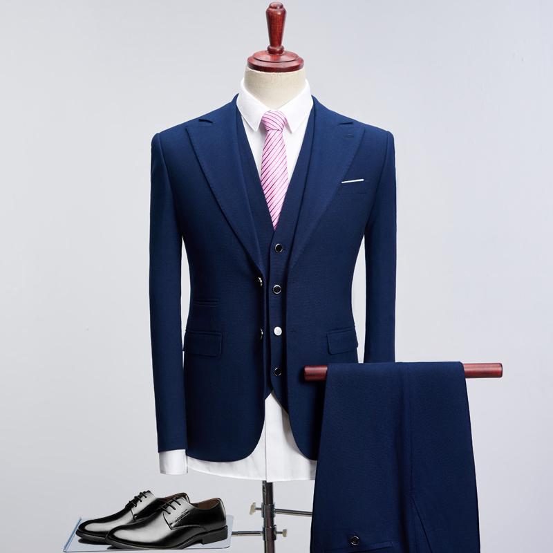 2020 Свадебный костюм для мужчин Смарт Черный Royal Blue Slim Fit бизнеса платье костюмы Мужской смокинг Пальто Брюки Плюс Размер S-XXXXL 1005