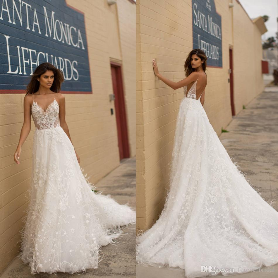 Sexy Spaghetti A Line Wedding Dresses Deep V Neck Lace Appliques Bridal Gowns Tiered Full Feather Custom Made Dress