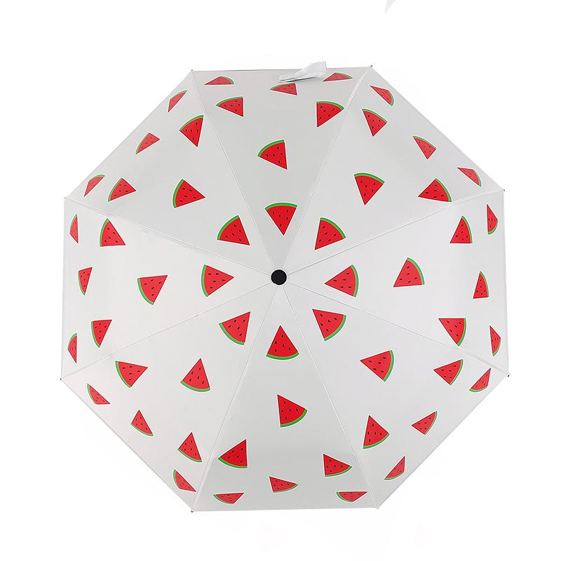 Fresh Umbrella Three Folding Sunscreen Shade Schwarzbeschichtung Sunny Umbrellas Lemon Banana Watermelon Cherry Rain Gear