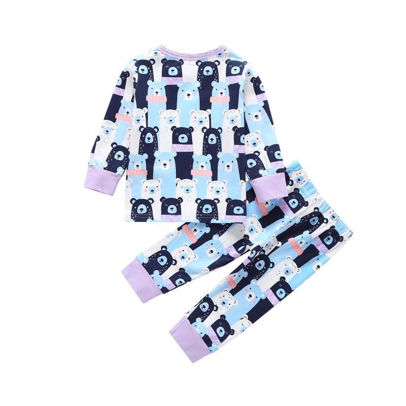 لطيف الكرتون الدب مجموعة بنطلونات فضفاضة للطفلة الربيع الخريف 2 قطعة مجموعة ملابس الأطفال حديثي الولادة صبي مجموعة تي شيرت + بانت ملابس للنوم ثوب النوم