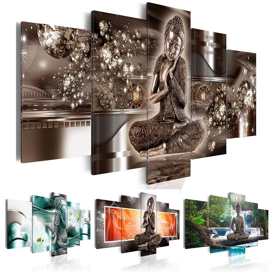 HD modo caldo di vendita di arte della parete della tela di canapa Pittura 5 gioielli con diamanti Buddha Zen Meditation Waterfall Landscape decorazione domestica moderna