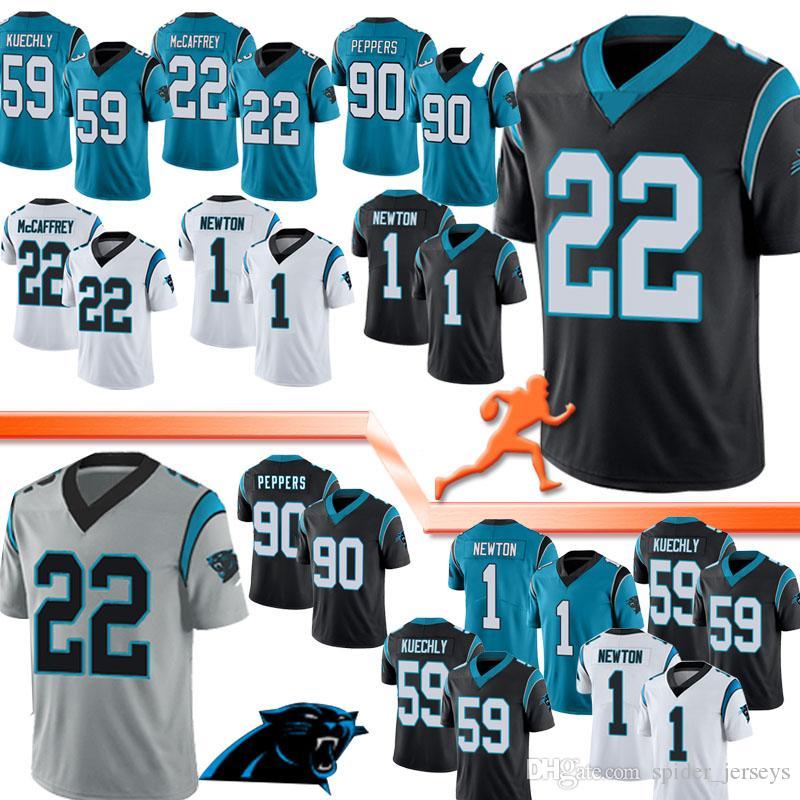 Carolina 22 Christian McCaffrey Jersey Panther 1 Cam Newton 59 Luke Kuechly 90 Julius Peppers Football Jerseys Grey 1 Piece Top quality 2020