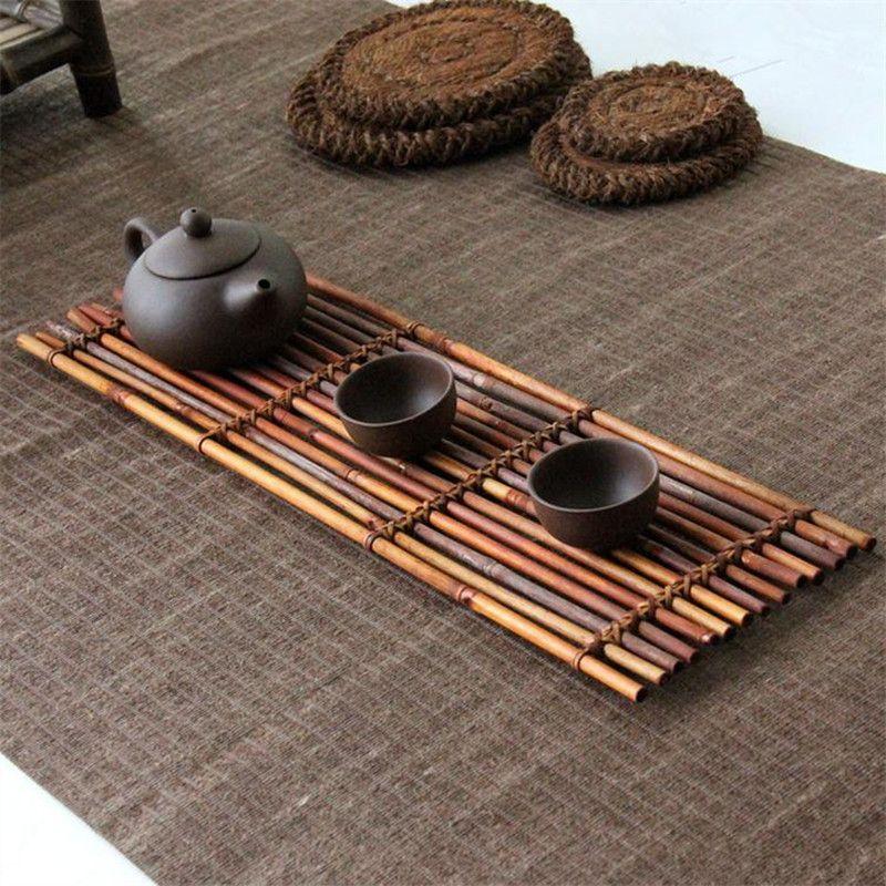 Bambù naturale Tea Cup Pad Mat Coppa sottobicchieri Teiera rilievo del supporto Per montagne Kungfu Tea Set Posavasos mano Promozione Nuovo