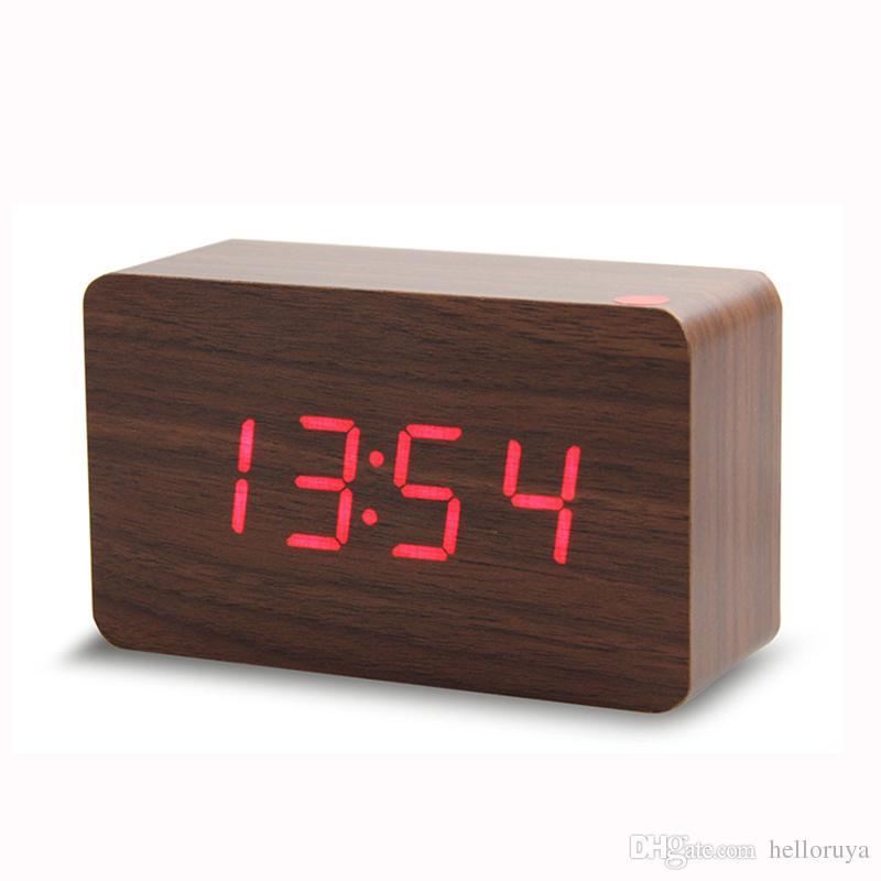 2019 горячая распродажа wake up light western led digital clock USB power/Battery электронный настольный светодиодный деревянный будильник