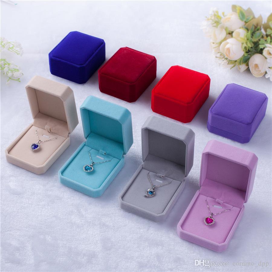 DHL veludo gratuito caixas de jóias para única Colares do casos de jóias de casamento presente de exibição Embalagem em massa