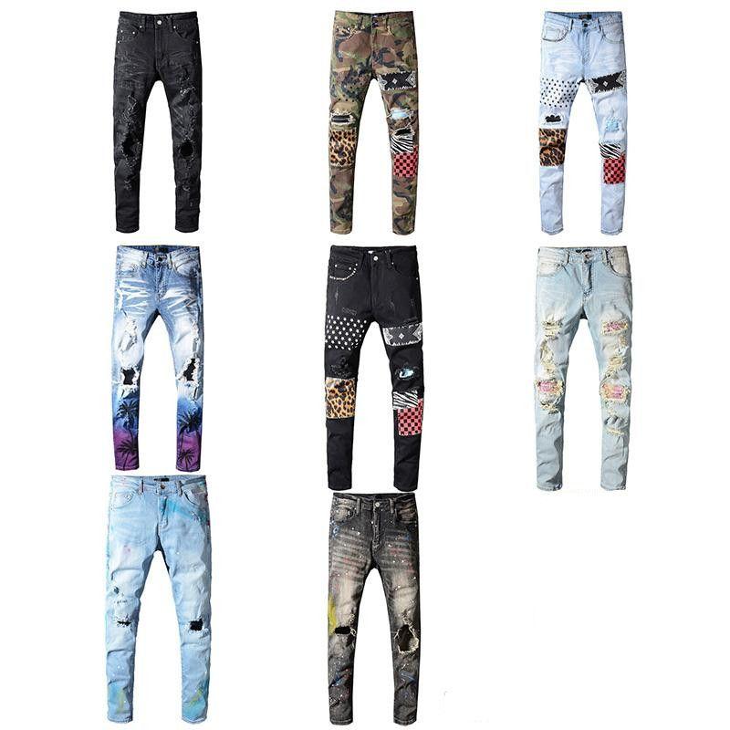 Marca Classic Miri Hip Hop de los pantalones vaqueros de marca pantalones para hombre Aquaman delgados rectos flacos del motorista Loophole Jeans Hombres Mujeres pantalones vaqueros rasgados