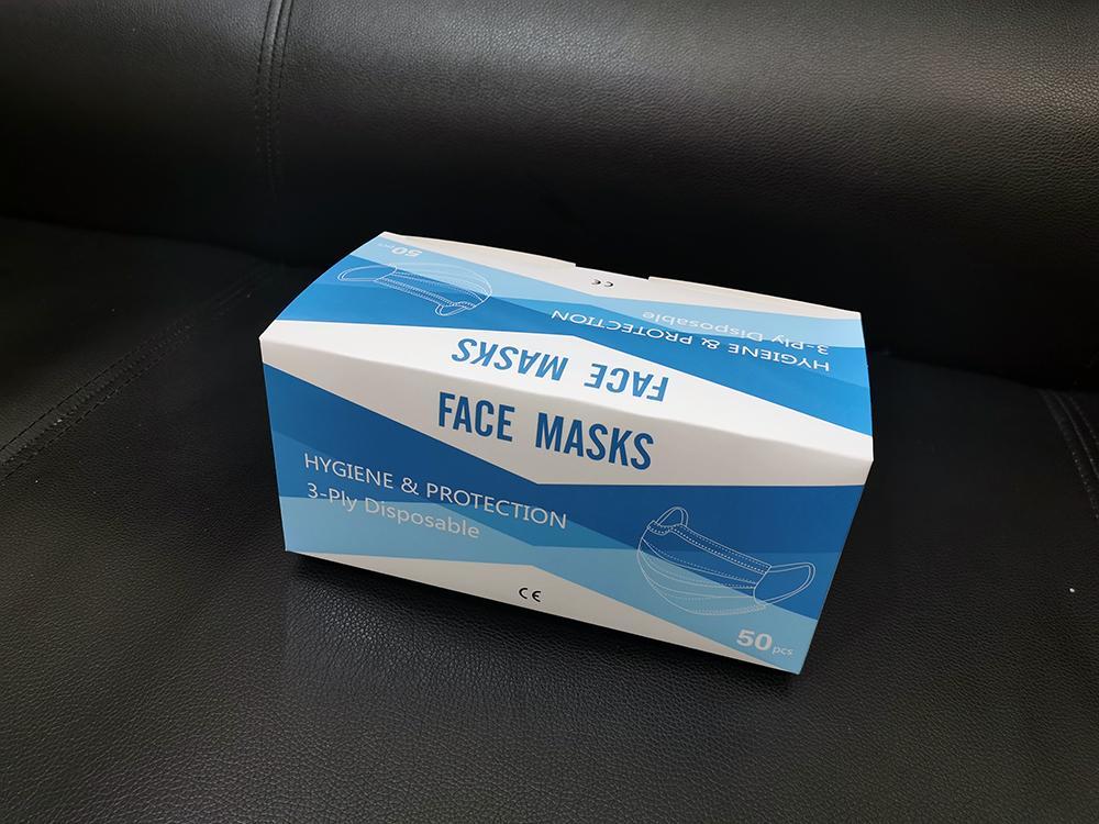 Masques visage à usage unique 3 Couche-boucle d'oreille Masques poussière bouche couverture 3-Ply non-tissé Masque anti-poussière jetable souple respirante partie extérieure 1203