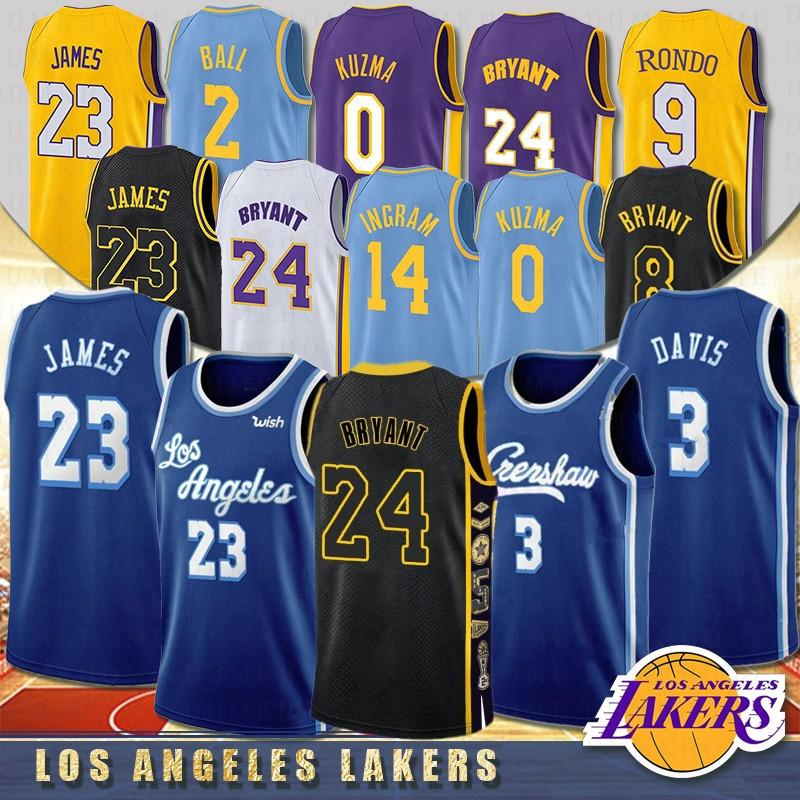 NACC Los Angeles Lakers 23 LeBron James 3 Anthony Davis Kobe 24 Bryant Erkekler Çocuklar Üniversite Basketbol Formaları 0 Kyle Kuzma 8 Bryant 14 Ingram 2 Top erkek çocuk 2020 Yeni