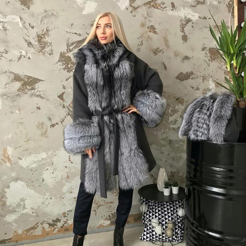 여성 모피 가짜 CKMorls 진짜 모직 혼합 코트 겨울 여성 자켓 자연 칼라 캐시미어 오버 코트 숙녀 캐주얼 겉옷 벨트