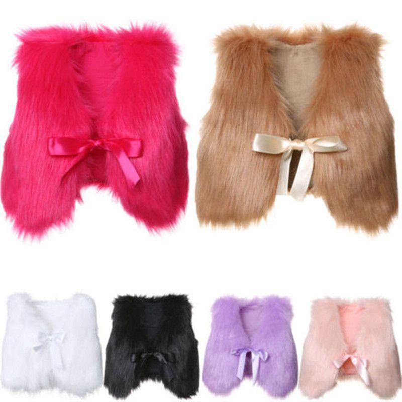 1-5T Baby Mädchen Pelz Warme Weste Kinder Winter Weste Mode Boutique Kinder Mantel 6 Farben Outwear C5605
