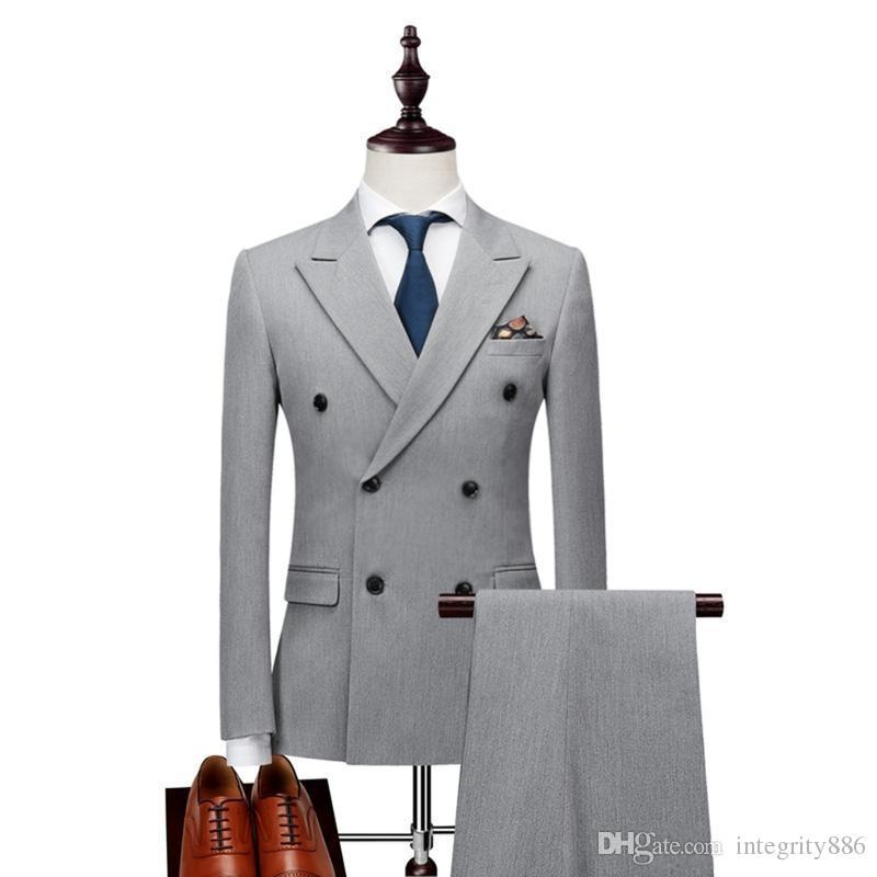 Smokings de marié gris clair Excellent smoking garçons d'honneur tuxedos de mariage hommes Dîner officiel du bal de finissants costume blazer (veste + pantalon + cravate) 1102