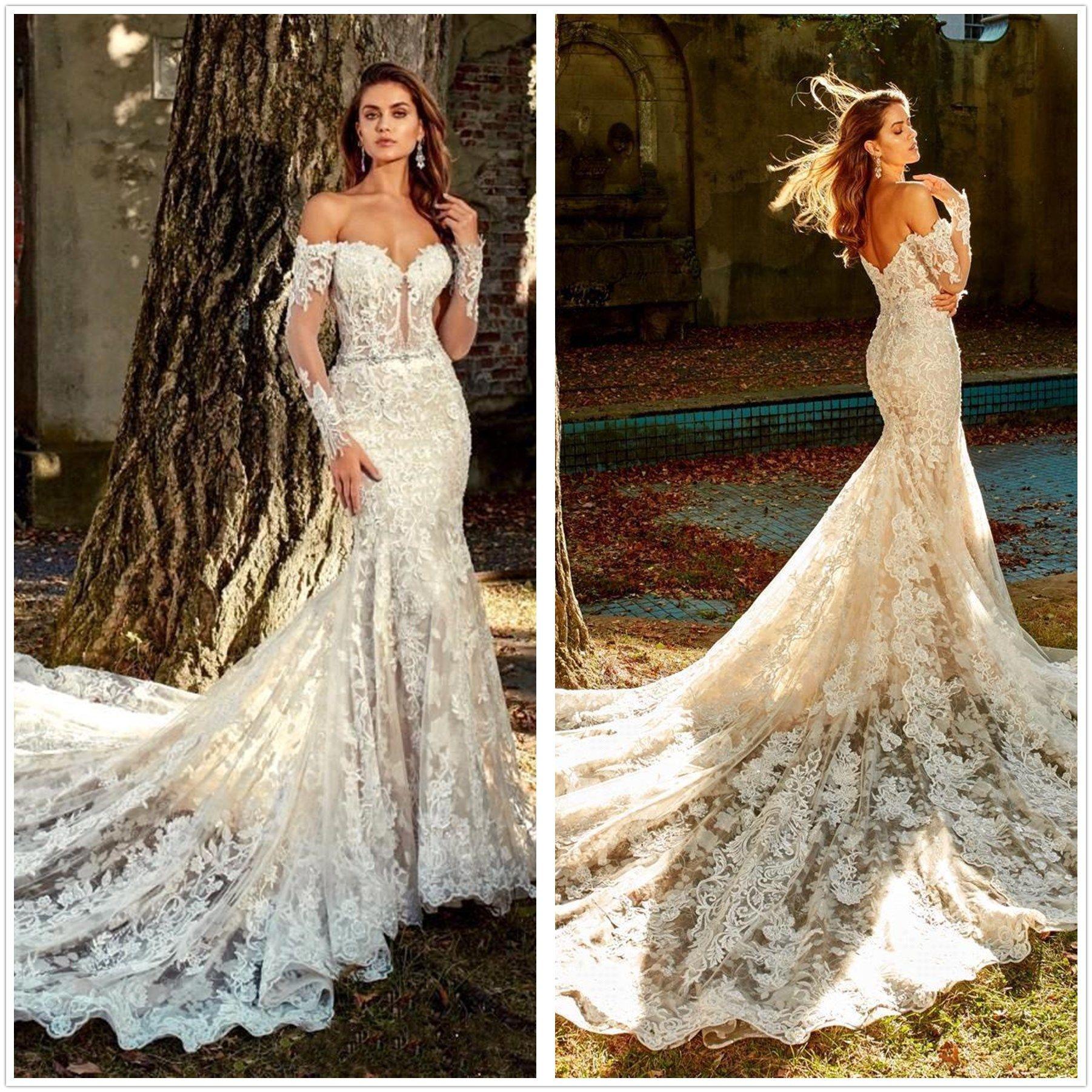 Wedding Gowns Lace Mermaid Vintage Sash Off Shoulder Sweetheart Neckline Dresses