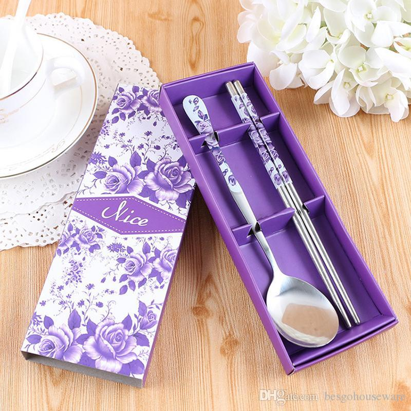 Durable Chopstick Spoon Dinnerware Set High Quality Stainless Steel Tableware Box Set Custom Printing Chinese Style Wedding Gift BH0040 TQQ