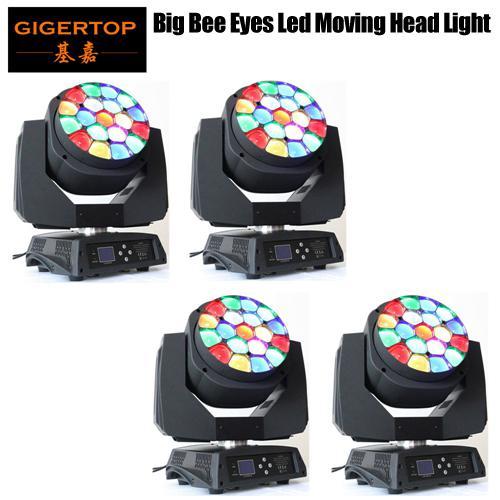 fedex 4adet tarafından Freeshipping / lot 19x15W RGBW 4IN1 Büyük Arı Göz Led hareketli kafa ışın ışık 110V-240V Orijinal Hawkeye ışın ışık