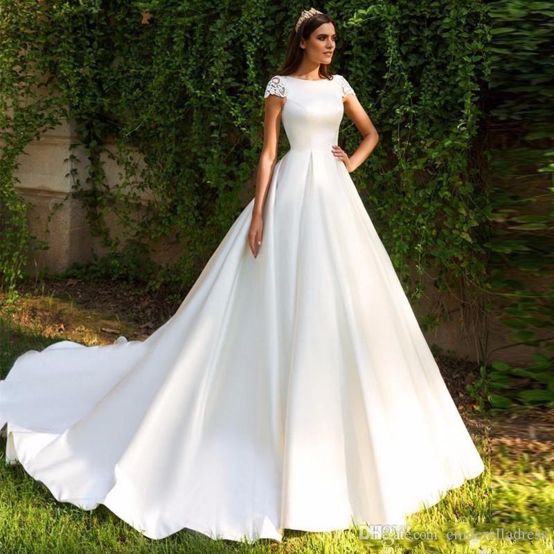 2020 New Elegant Lace Appliqued A-line Satin Wedding Dress Cheap Bateau Sheer Back Cap Sleeves Plus Size Bridal Gown